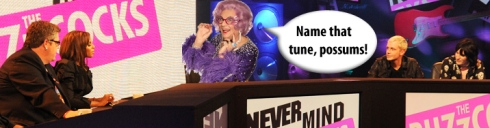 Dame Edna Everage, Never Mind the Buzzcocks, BBC, Miriam O'Reilly, Seleb Spy 2011, selebspy.com